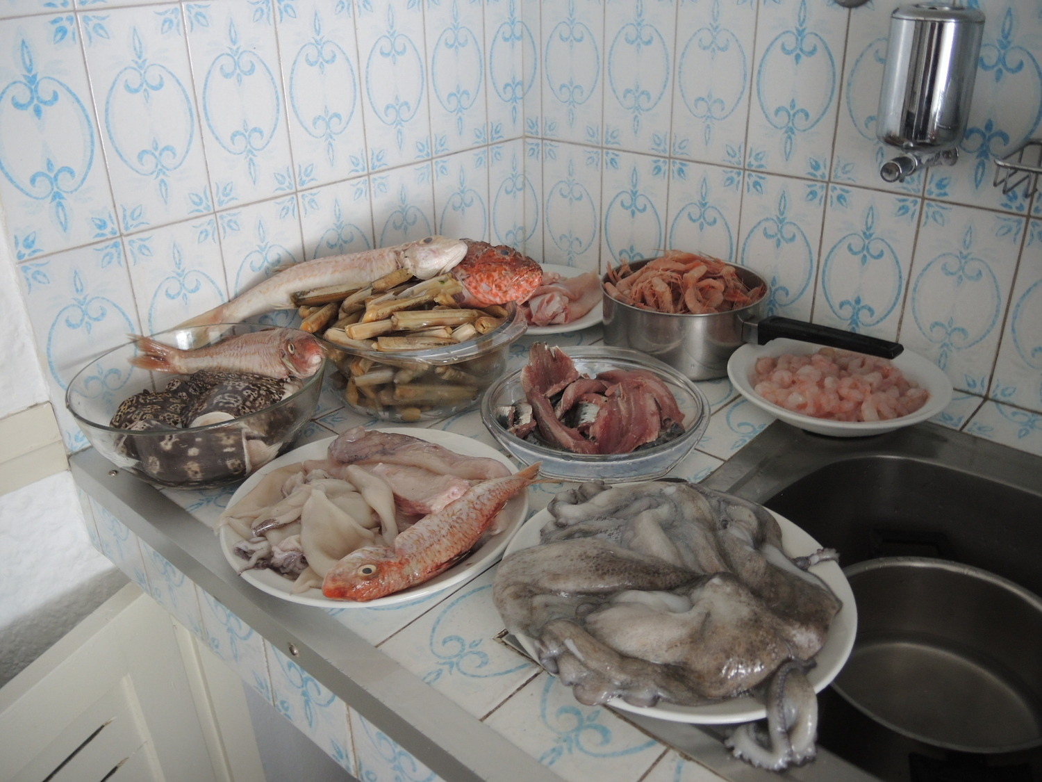 Fresh seafood and fish in riad's kitchen