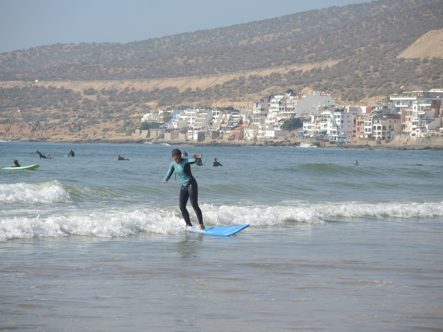 Surfers in Morocco, on the coast of Taghazout