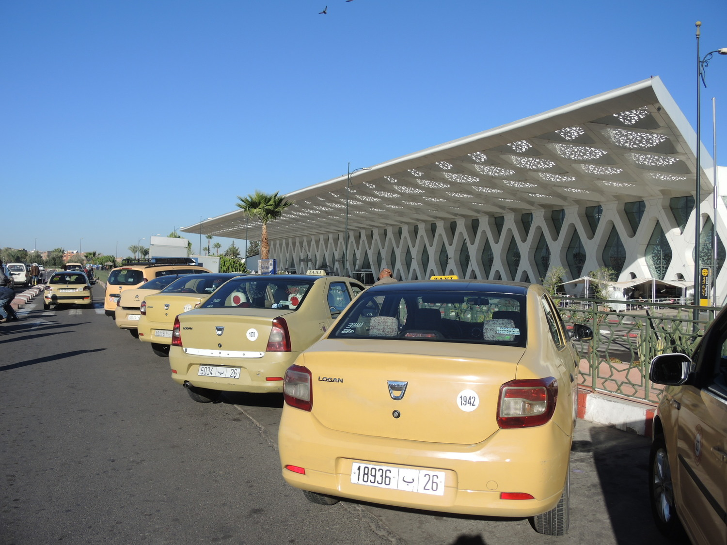 Taxis near the airport in Morocco