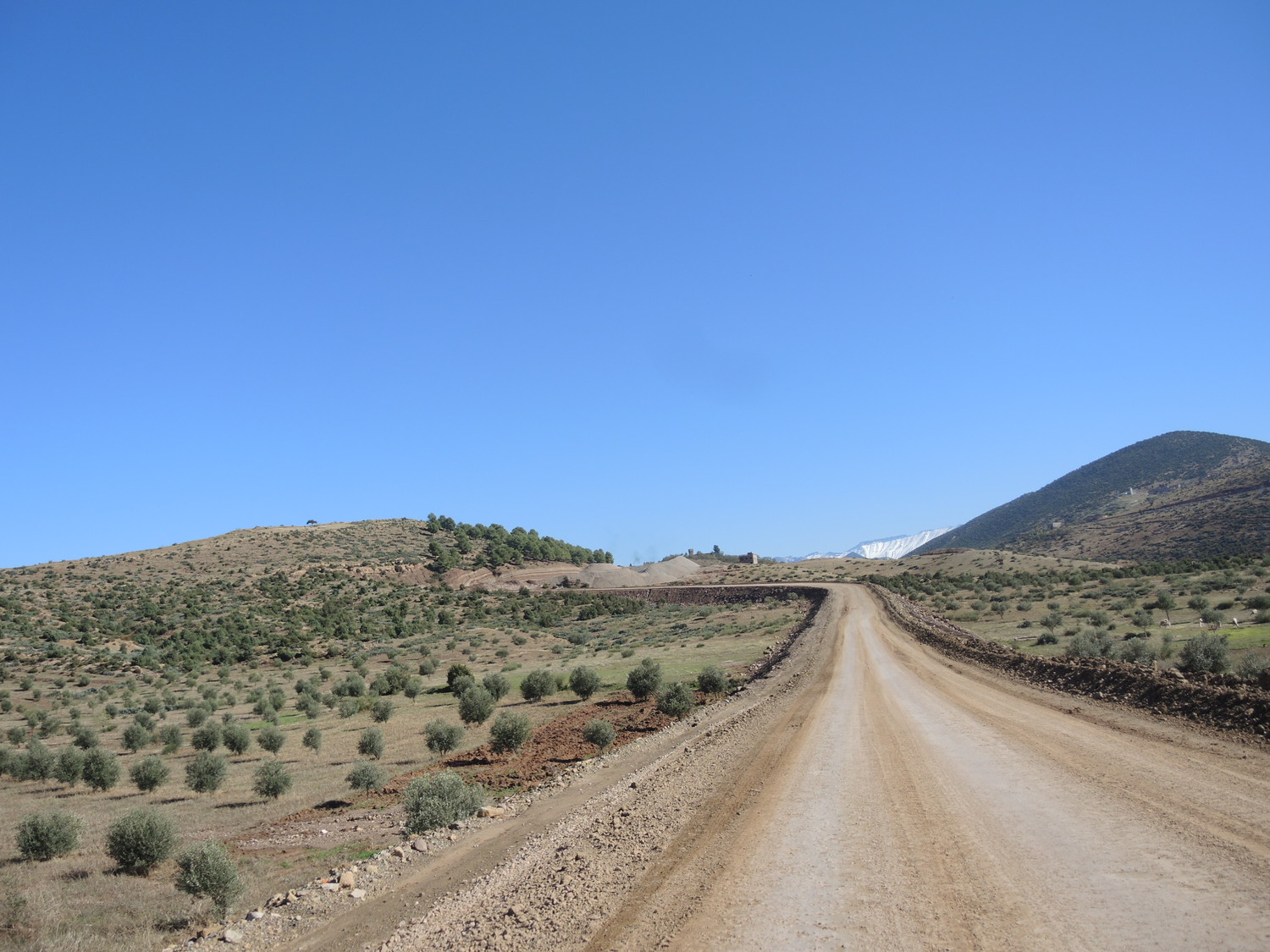 Wide road near the Atlas Mountains