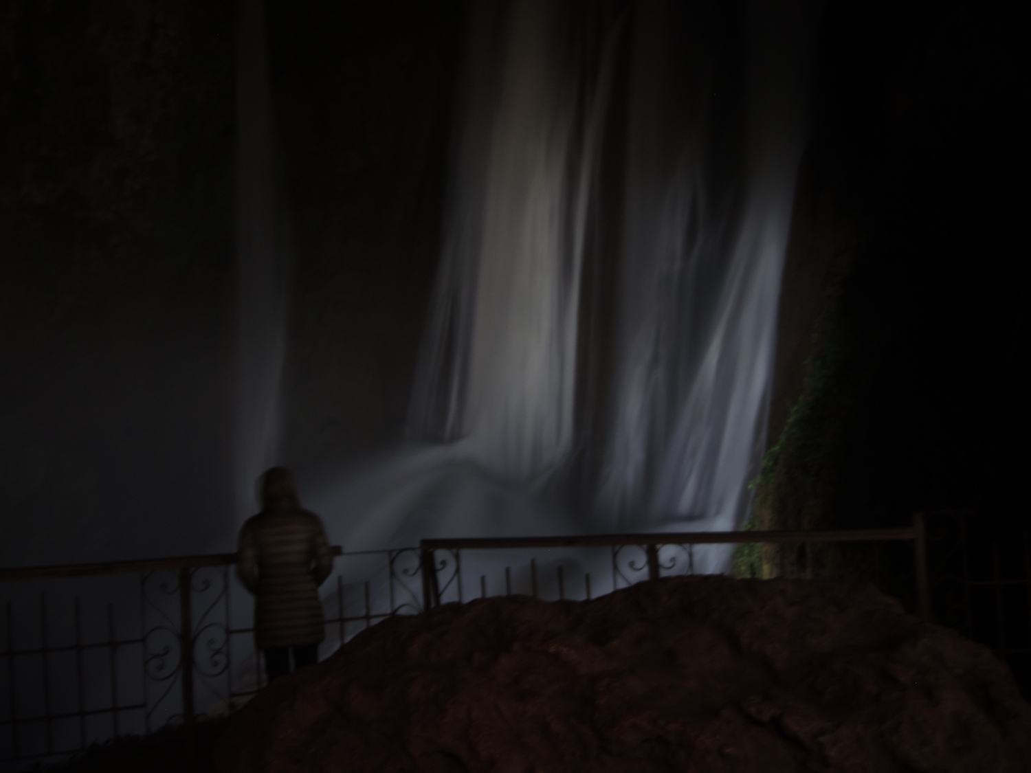 Ouzoud waterfalls at night