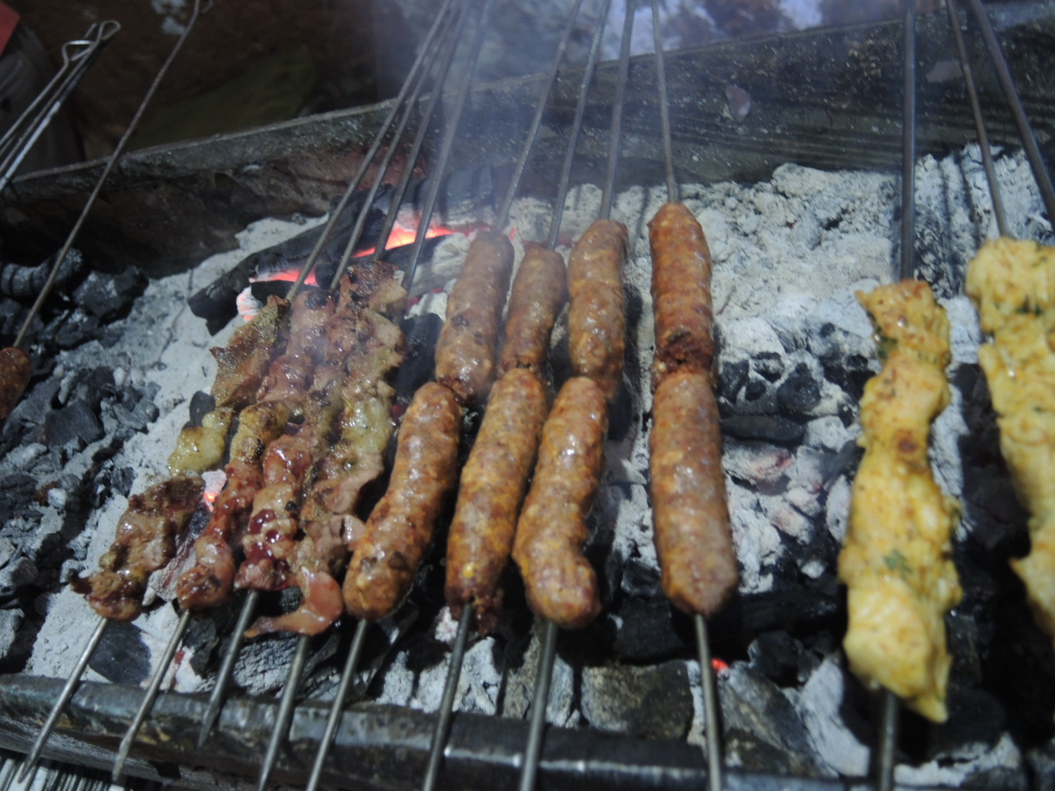Merguez hotdogs and lamb kebab