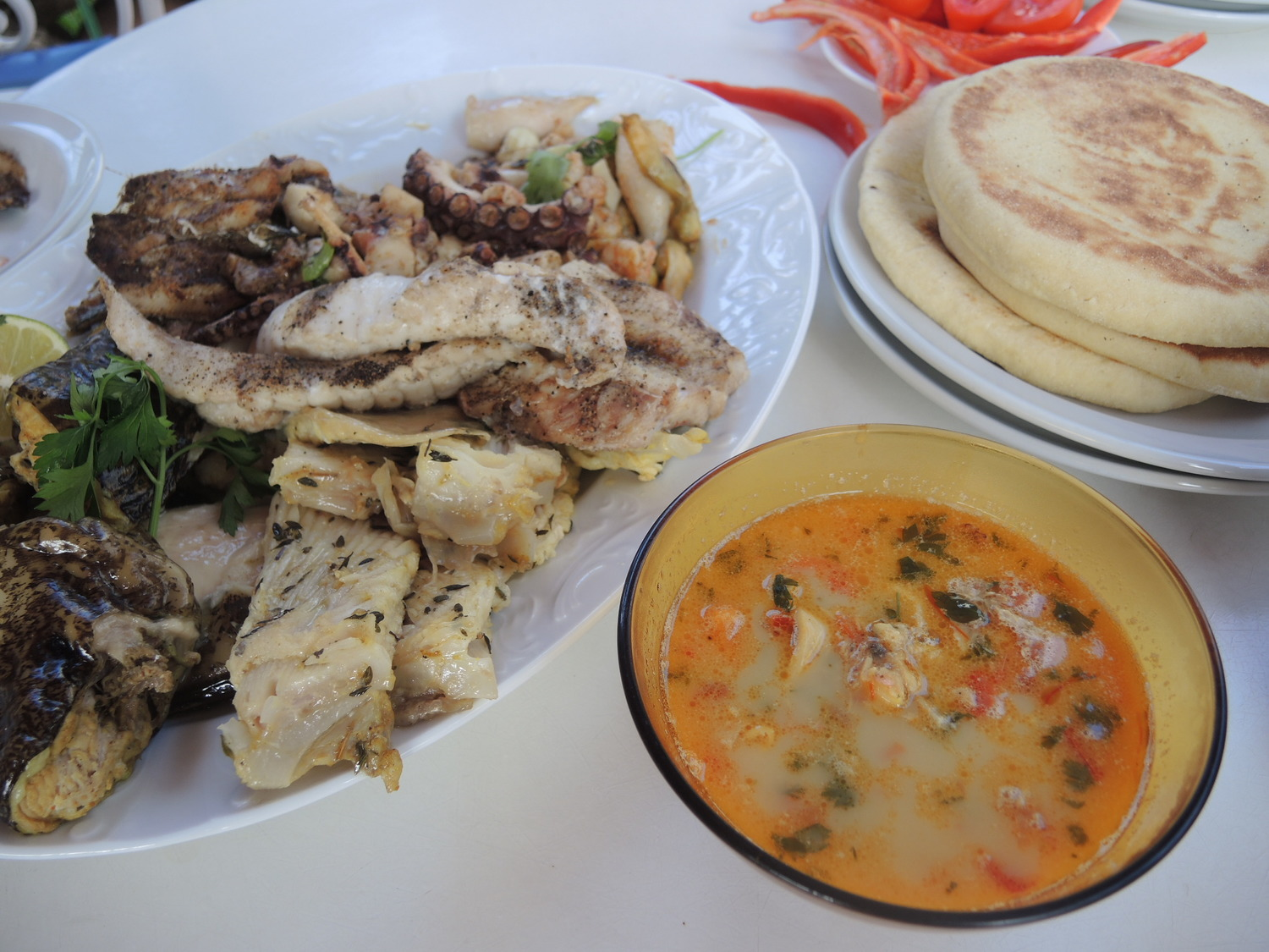 Homemade fish soup and Fish Plate in Morocco