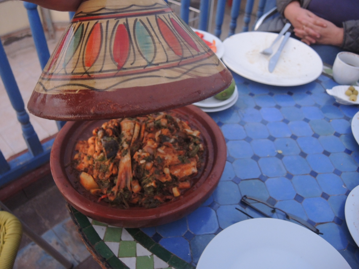 Homemade fish tagine in Essaouira