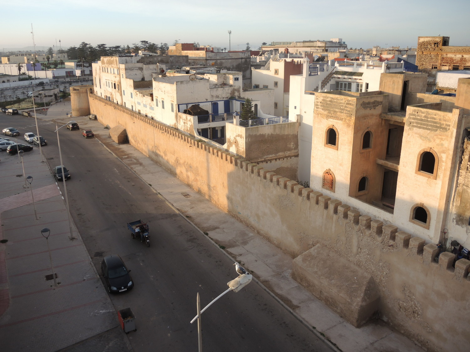 The wall of medina Essaouira at day light