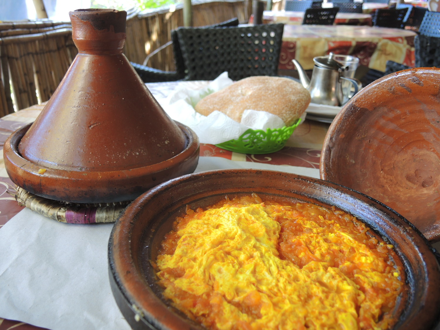 Berberian omelet with tomatoes in the Atlas Mountains