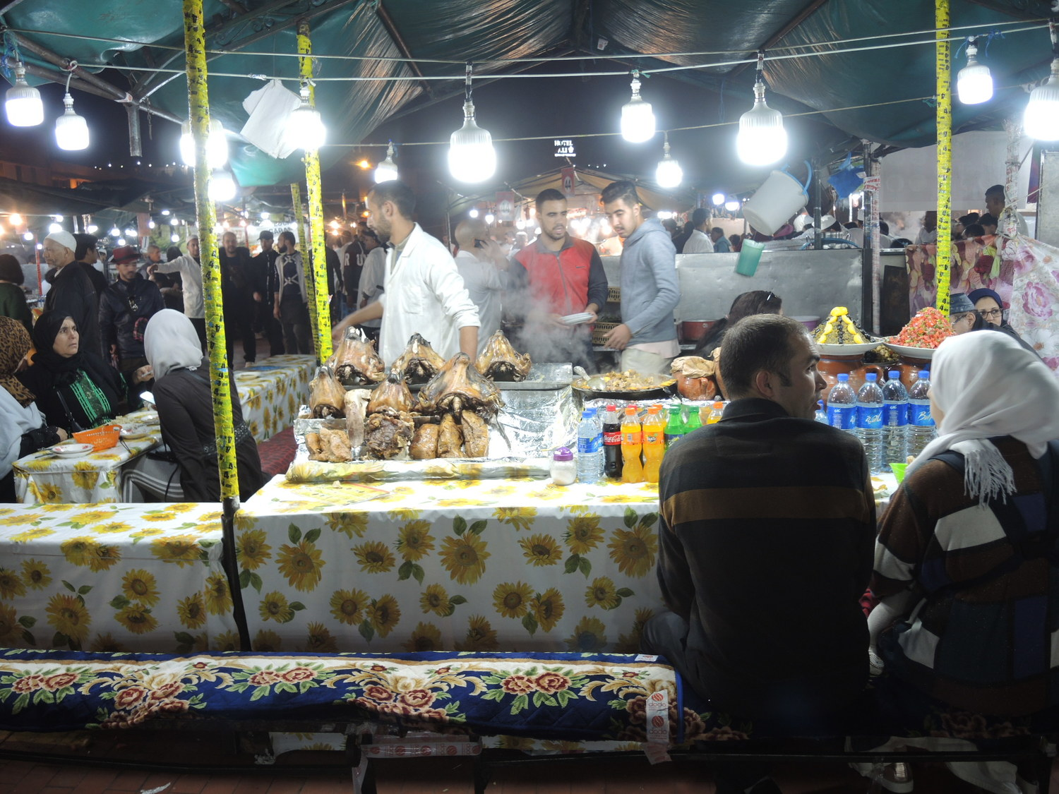 Jamaa El Fna market in Marrakech at night
