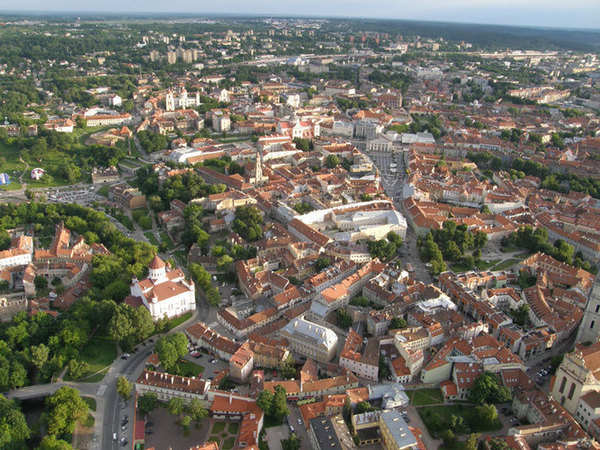 Vilnius Old Town from air ballon