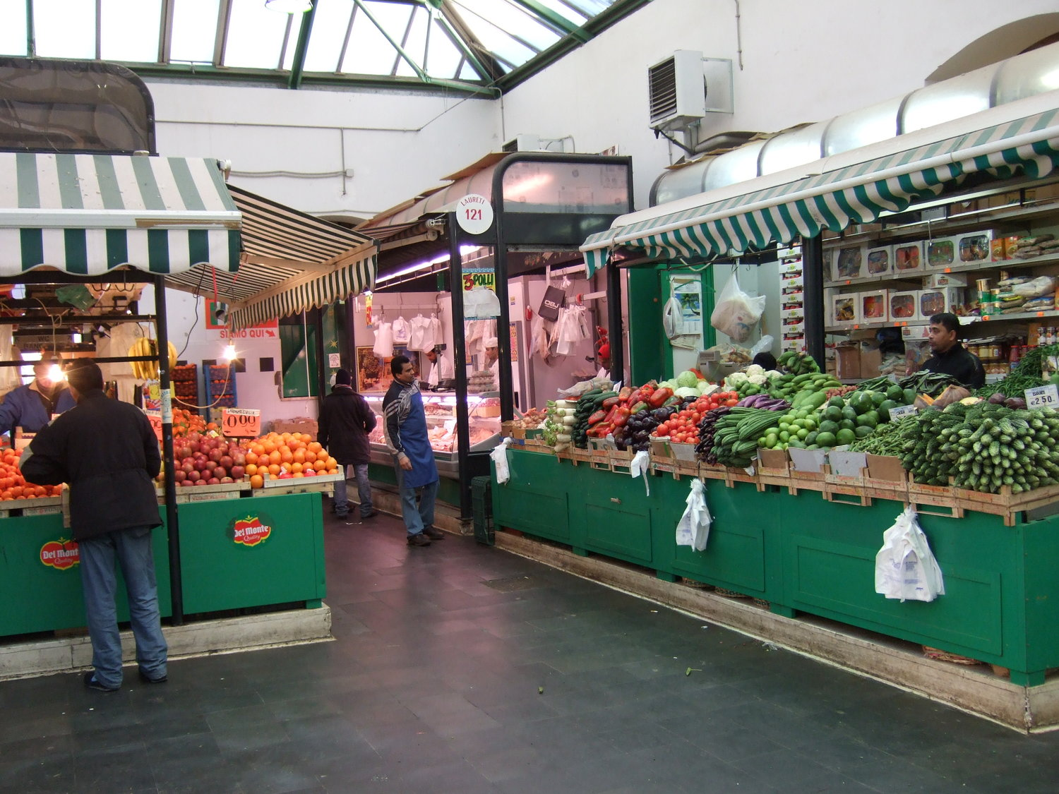 Fish market in Rome. Mercato Esquilino meet and vegetables hall