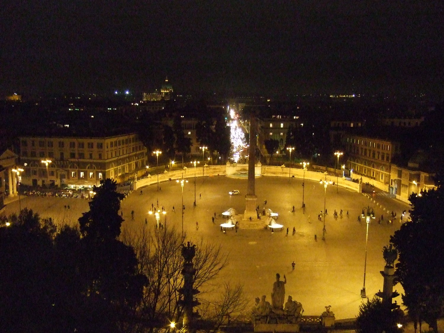 Rome at night. The Pincio Gardens above the Piazza del Popolo.