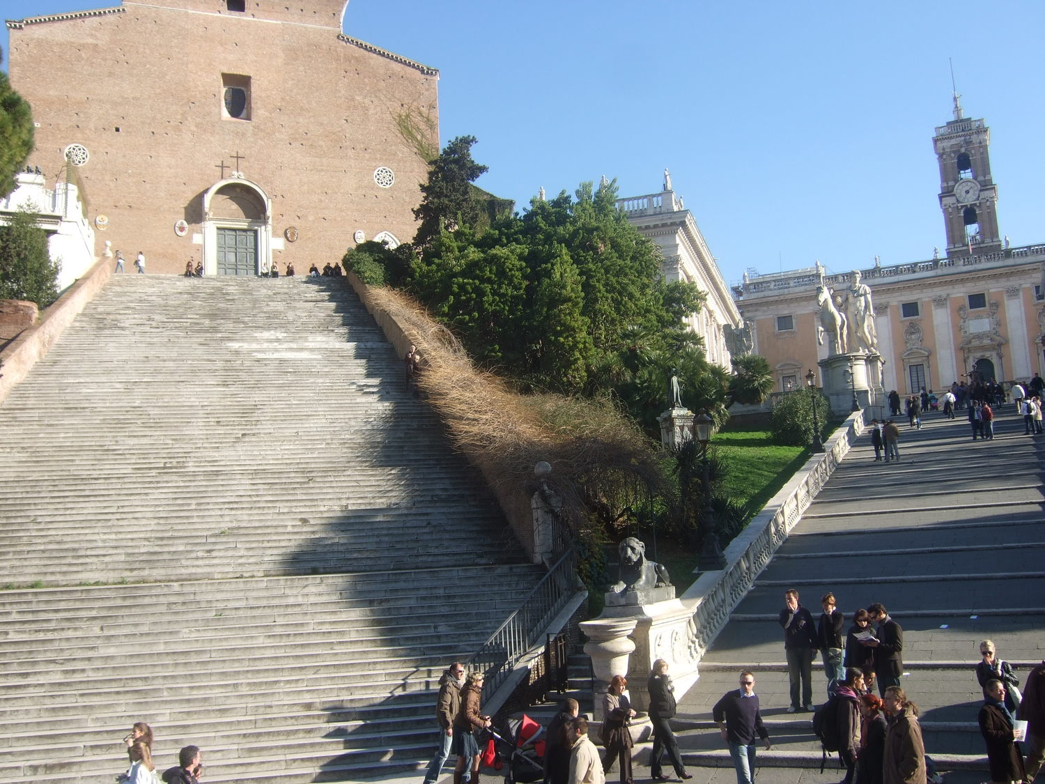 Tourist attractions. Cordonata Capitolina stairs and Capitoline Hill