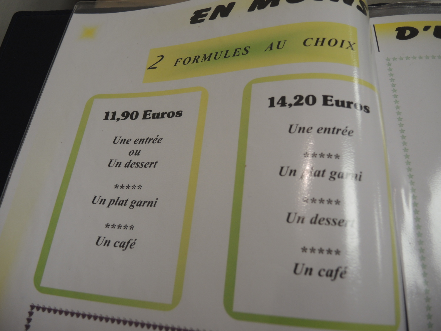 Three rounds menu price in Normandy