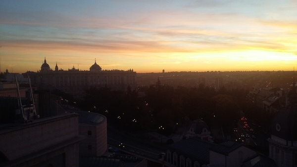 Royal Palace of Madrid at sunset
